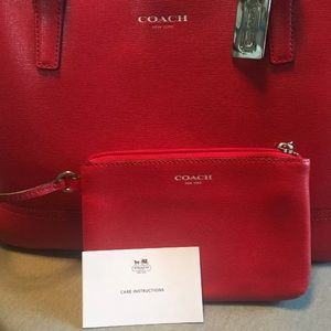 Solid Red Coach Large Tote with Wristlet